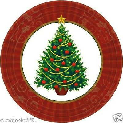 Christmas Twinkling Tree Dessert Plates 8pcs Holiday Party Supplies