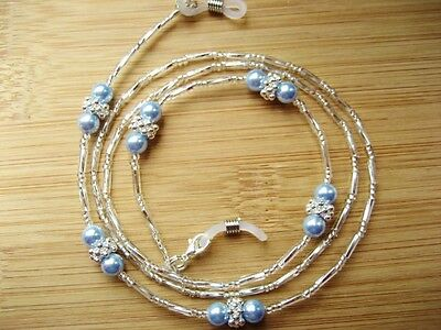 Spectacle Reading Glasses Chain Blue Swarovski Pearls Silver Beaded Handmade UK