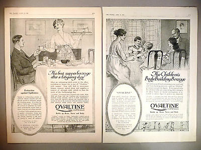 Ovaltine Tonic Food Beverage PRINT AD - 1919 ~~ LOT of two