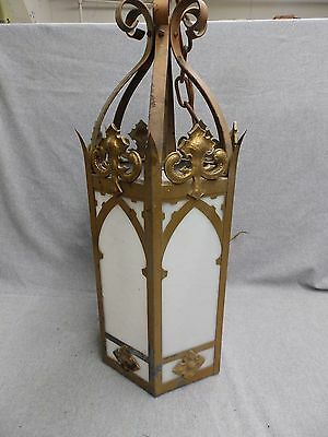 Vintage Gothic Tole Brass Ceiling Light Chandelier Milk Glass Panels Old 5096-15