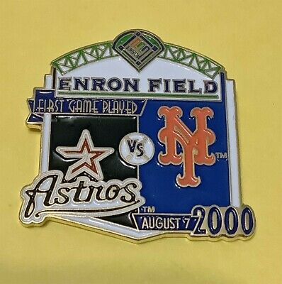 New York Mets Vs  Houston Astros First Game Played Enron Field Pin