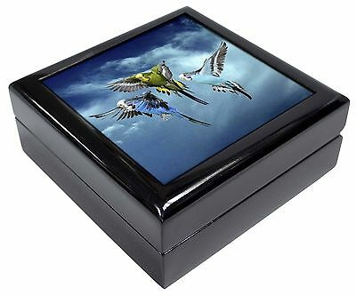 Budgies in Flight Picture Jewellery Box Christmas Gift, AB-96JB