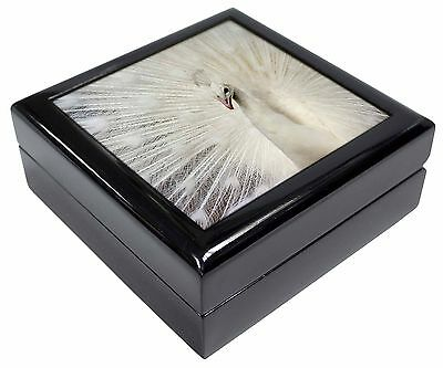 White Feathers Peacock Picture Jewellery Box Christmas Gift, AB-PE19JB