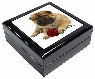 Shar Pei Dog with Red Rose Picture Jewellery Box Christmas Gift, AD-SH2RJB