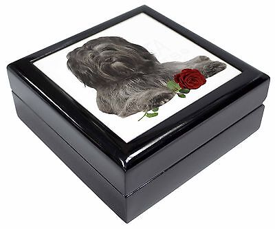 Tibetan Terrier with Red Rose Picture Jewellery Box Christmas Gift, AD-TT2RJB