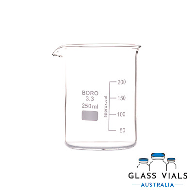 Glass Beaker 250Ml Low Form Borosilicate Reinforced Isolab