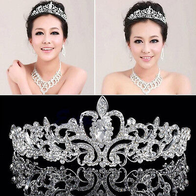Tiara Wedding Bridal Princess Austrian Stunning Crystal Hair Crown Veil Headband