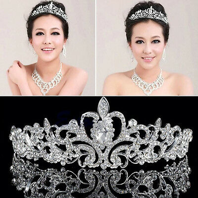 Crystal Bridal Princess Tiara Wedding Austrian Stunning Hair Crown Veil Headband