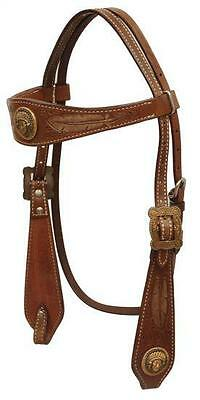 Showman Headstall and Reins with Native American Chief Conchos! NEW HORSE TACK!