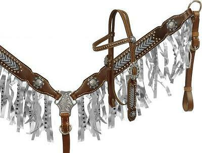 Showman Silver Metallic Fringe Headstall and Breast Collar Set! NEW HORSE TACK!