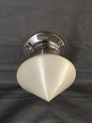Vintage Chrome Brass Ceiling Light Fixture Cone Glass Globe Old Kitchen 5100-15