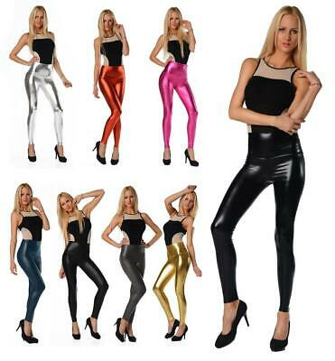 Leggings Wet-Look schwarz silber gold Glanz Legings Gr. S M L XL 2XL 3XL 4XL