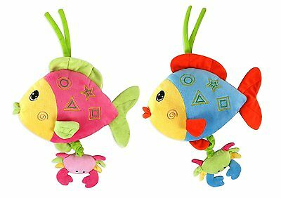 "PULL CORD / Baby Musical Plush Fish Toy 10"" (2 Assorted Designs) (Pink/Blue)"