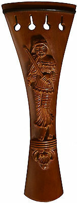 "Musaica Violin Tailpiece Carved ""Violinist"" Style in Boxwood Accessory"