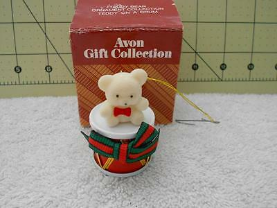 Avon Teddy Bear Ornament Collection Teddy on a Drum Christmas Ornament