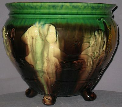 "ANTIQUE UNMARKED WELLER JARDINIERE ART NOVEAU COLORED GLAZE 9 1/2""H x 10 3/4""D"