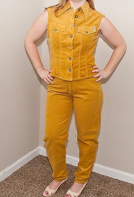 Vintage 90's Guess Corduroy Vest With Matching Pants Mustard Mom Jeans L 29