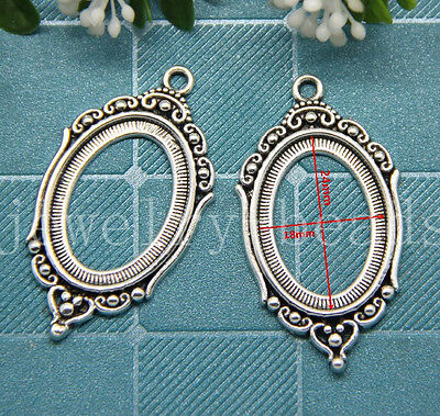 New 2/8/40pcs Antique Silver Cameo Cabochon Base Setting Charms Pendant 43x24mm