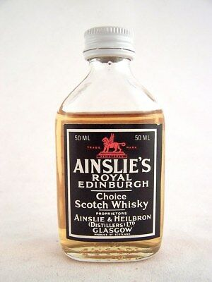 Miniature circa 1981 AINSLIE'S ROYAL EDINBURGH Scotch Whisky Isle of Wine