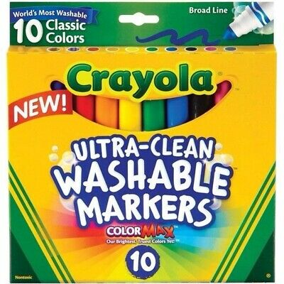 Crayola Ultra Clean Washable Broadline Markers Classic Colours 10Pk  58 7851*^