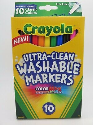 Crayola Ultra Clean Washable Fineline Markers Classic Colours 10Pk  58 7852