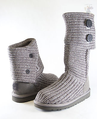 Kids UGG Australia Classic Cardy 5649 Grey Crochet 100% Authentic Brand New