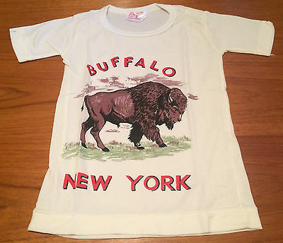 Vintage NOS Buffalo NY Souvenir T-Shirt Child Kids Size 6 100% Nylon Hong Kong
