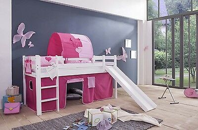 high bed childrens play Slide with pine white 9 pieces Princess