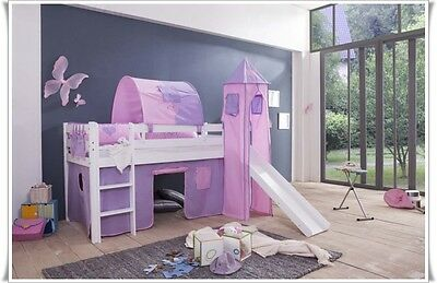 High Bed Kid's bed with tower and slide + Mattress + Curtain White CI