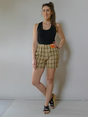 vintage retro true 50s unused 10 S brown check shorts NOS as new tags