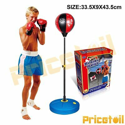 Adjustable Height Punching Kids Boxing Ball Stand With Gloves Practise Toy Set