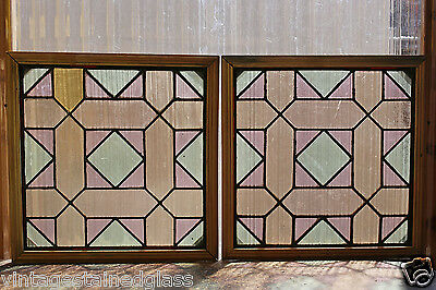 Pair of Antique Stained Glass Windows Four Color Ruby Bordered Deisgn     (2942)