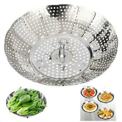 Folding Stainless Steel Steamer Steam Vegetable Basket Mesh Cooker Expandable Y