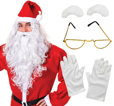 Santa 5 Pc Kit Wig Beard Gloves Glasses Eyebrows Christmas Fancy Dress Costume