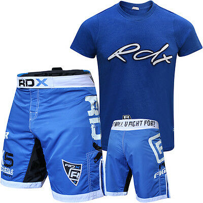RDX Mens T-Shirt Top Boxing Training UFC Gel Flex MMA Fight Shorts BodyBuilding