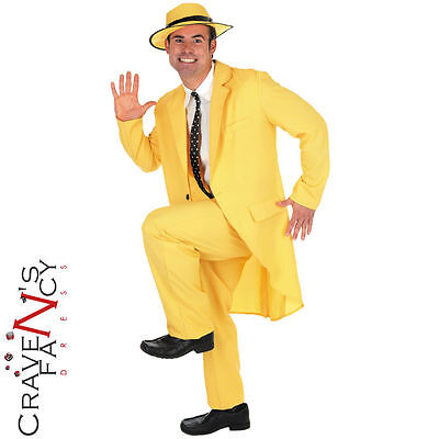 The Mask Fancy Dress Costume 90s Jim Carrey Movie Yellow Gangster Suit Outfit