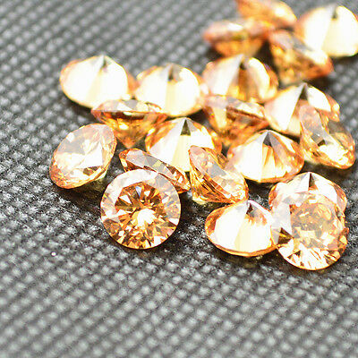 Round Champagne CZ Cubic Zirconia Loose Stone Lot 2/2.5/3/4/5/6/7/8/9/10/11/12mm