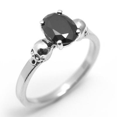 Sterling Silver 1.4ct Oval Cut Black Diamond-Unique Skull Engagement Ring