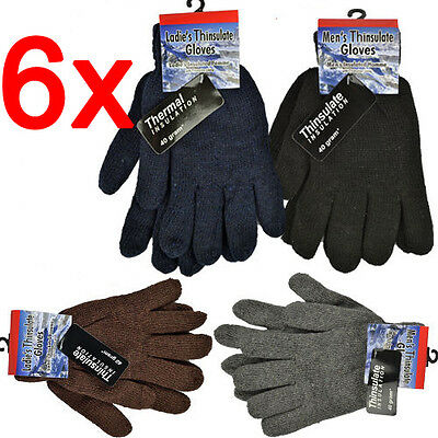 6 X Mens Thinsulate Gloves Thermal Insulation Knitted Lined Warm Winter Ladies