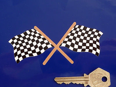 """Crossed CHEQUERED FLAG Old Style Race Car STICKER 4.25"""" Classic Racing Bike"""