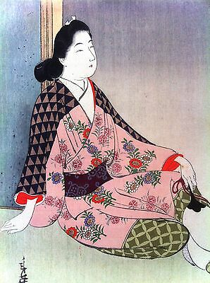 Toshihide Migita , Japanese Woodblock Print, Image of Beauty Resting, 1901
