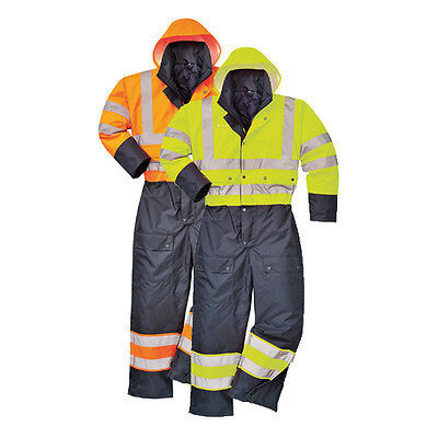 Portwest Hi-Vis Contrast Coverall - Warm waterproof Quilted Lining Padded S485
