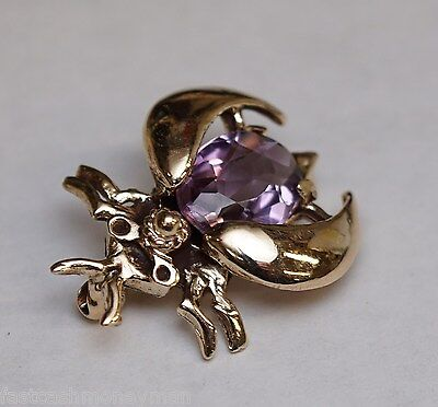 Vintage 14K Yellow Gold Amethyst Beetle Pin Pendant Charm Bug Insect Estate Find