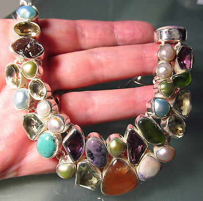 925 silver 87gr mixed cut & cab stones, pearls 18 inch necklace.
