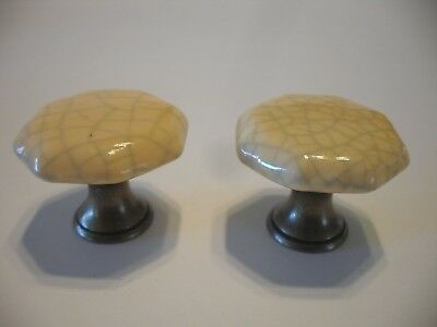"2 VTG 1-3/8"" Butterscotch PORCELAIN & BRASS DRAWER KNOBS Cabinet Pulls Handles"