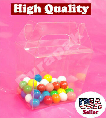 """50~ 3-1/2x2-3/8x3-3/4"""" Clear PET Plastic Chinese Take Out Party Favor Box Boxes"""