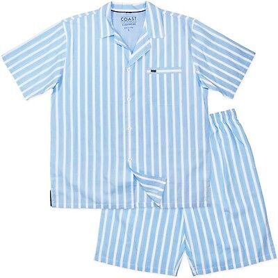 New Mens Short Blue Stripe Cotton Pyjamas Pjs Sleepwear, Sizes S-XXL RRP $49.95
