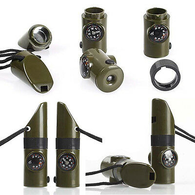 SH US 7in1 Outdoor SOS Survival Whistles LED Lights Mirror Compass For Camping