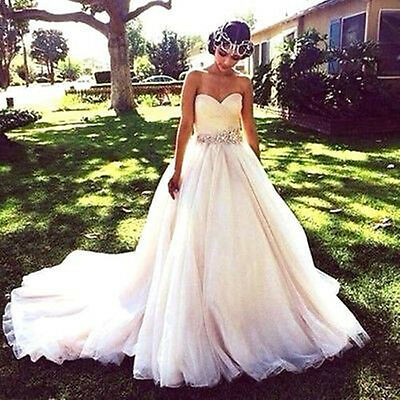 Tulle White/Ivory Princess Wedding Dress Bridal Gown Custom Size 6-8-10-12-14-16