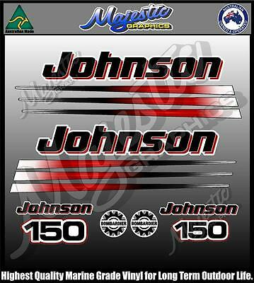 JOHNSON 150hp - BOMBADIER - DECAL SET - OUTBOARD DECALS